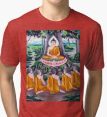 buddhism meditation drawing Tri-blend T-Shirt