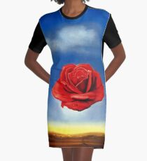 The Meditative Rose-Salvador Dali Graphic T-Shirt Dress