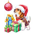 Christmas Beagle Puppy  by Anna Bucciarelli