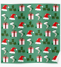 Festive Holly Jolly Christmas Pattern Poster