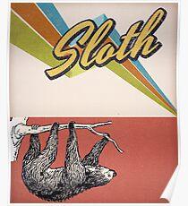 vintage sloth - retro sloth Poster