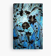 Blue Japanase Woodcut Canvas Print