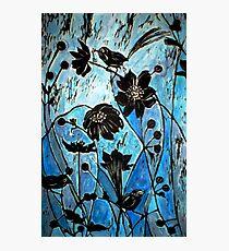 Blue Japanase Woodcut Photographic Print