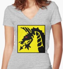 Dragon Symbol.  Women's Fitted V-Neck T-Shirt