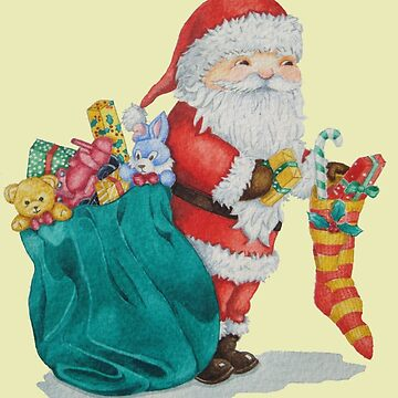 father christmas with gifts and toys by pollywolly
