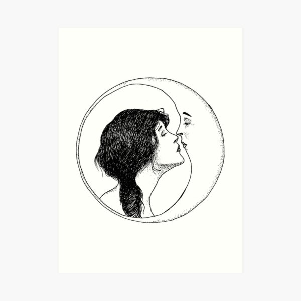 The Lady and the Moon Art Print