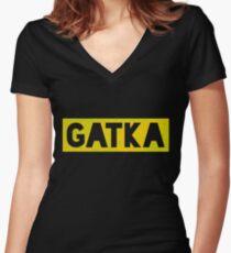 Gatka PUBG Bold Women's Fitted V-Neck T-Shirt