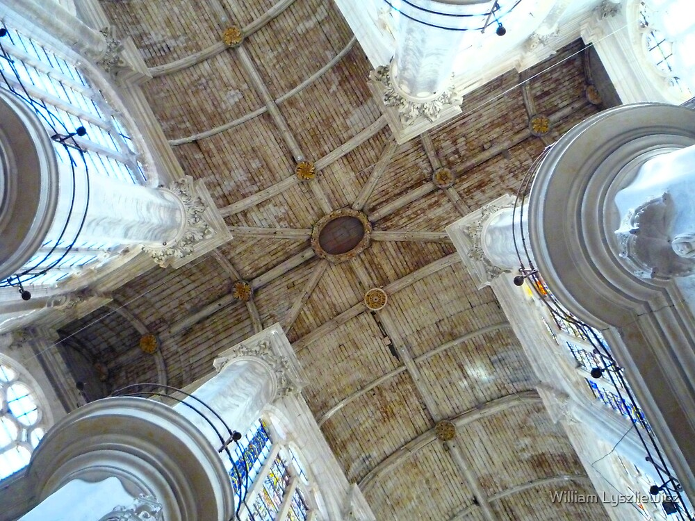 under the roof of the church. Troyes. France by william lyszliewicz