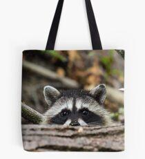 Peering Raccoon Tote Bag