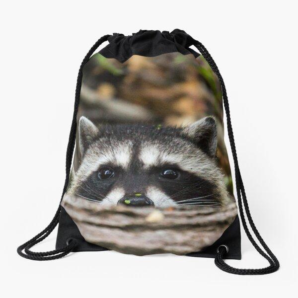 Peering Raccoon Drawstring Bag