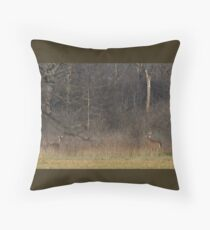 the Rut - White-tailed deer Throw Pillow
