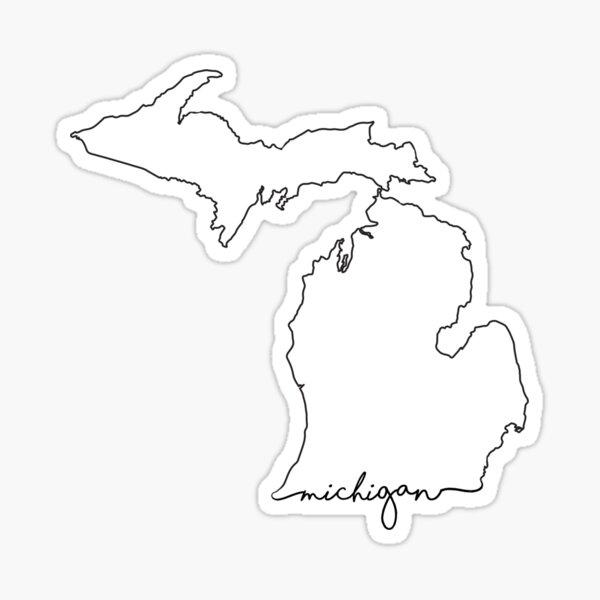 Unique Michigan map decals Floral Michigan Sticker
