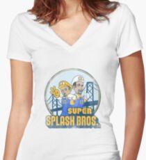 Super Splash Bros  Women's Fitted V-Neck T-Shirt