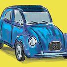 Classic Citroën Deux Chevaux 2CV Loose Sketch - Blue by ibadishi