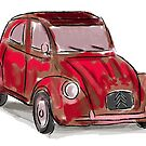 Classic Citroën Deux Chevaux 2CV Loose Sketch - Red by ibadishi