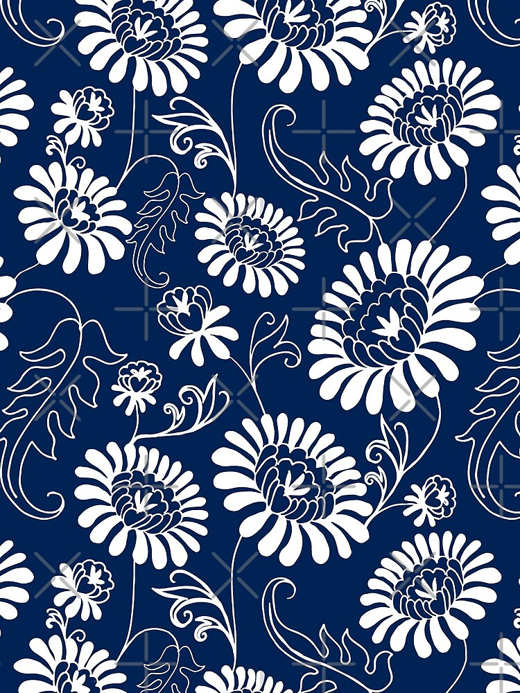 Vintage flowers on deep blue by Lelyely