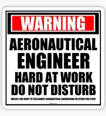 Warning Aeronautical Engineer Hard At Work Do Not Disturb Sticker