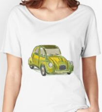 Classic Citroën Deux Chevaux 2CV Loose Sketch - Yellow Women's Relaxed Fit T-Shirt