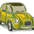 Classic Citroën Deux Chevaux 2CV Loose Sketch - Yellow by ibadishi