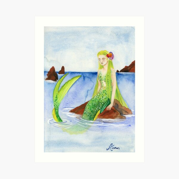 Mermaid on a Rock Art Print