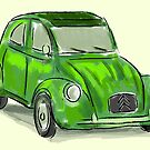 Classic Citroën Deux Chevaux 2CV Loose Sketch - Green by ibadishi