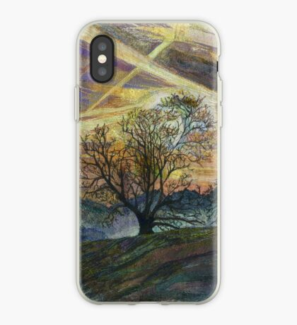 Sky Trails - Dawn Landscape Embroidery - Textile Art iPhone Case