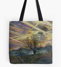 Sky Trails - Dawn Landscape Embroidery - Textile Art Tote Bag