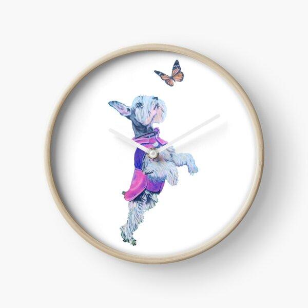 Schnauzer w/ Butterfly Clock