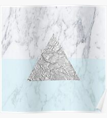Marble Triangle Blue Poster