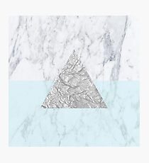 Marble Triangle Blue Photographic Print