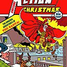 Have an Action Christmas! Sky Santa Superheroic Christmas Card by Jokertoons