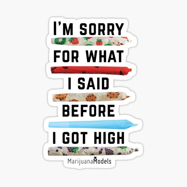 I'm Sorry For What I Said Before I Got High Sticker