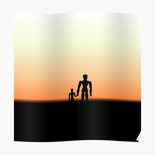 New Day - Sunset with Wooden Puppets Dolls Poster