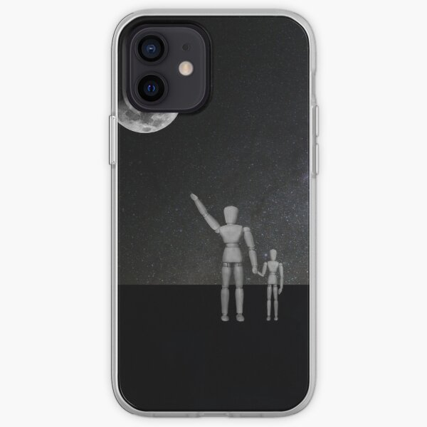 Moon in Sky - His name was Armstrong with Wooden Puppets Dolls iPhone Soft Case