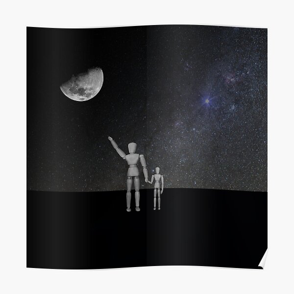 Moon in Sky - His name was Armstrong with Wooden Puppets Dolls Poster