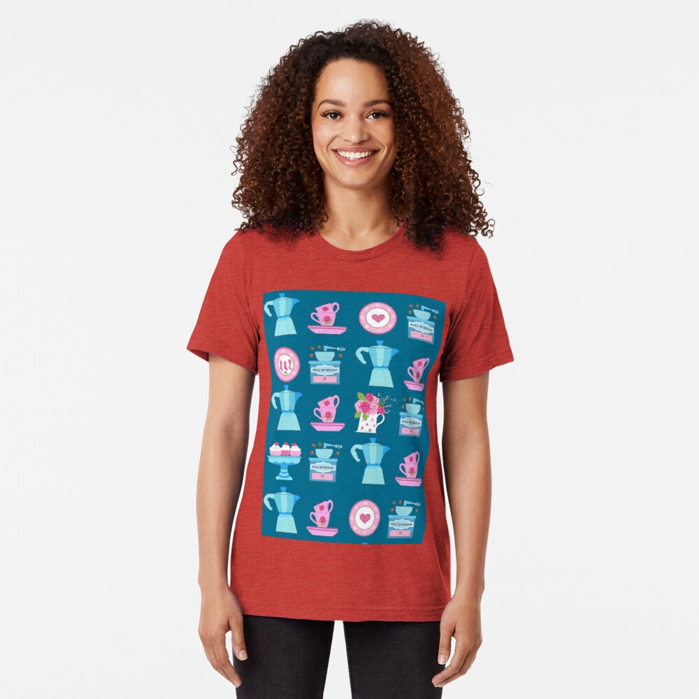 Coffee pot vintage kitchen and Christmas stocking  Tri-blend T-Shirt