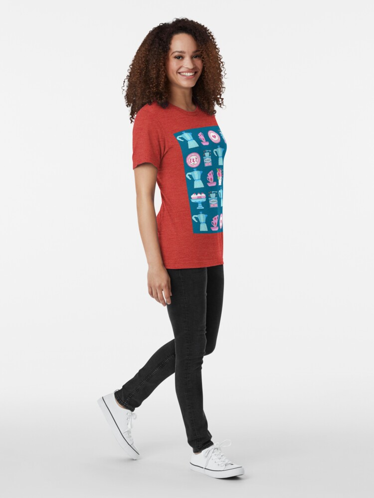 Alternate view of Coffee pot vintage kitchen and Christmas stocking  Tri-blend T-Shirt