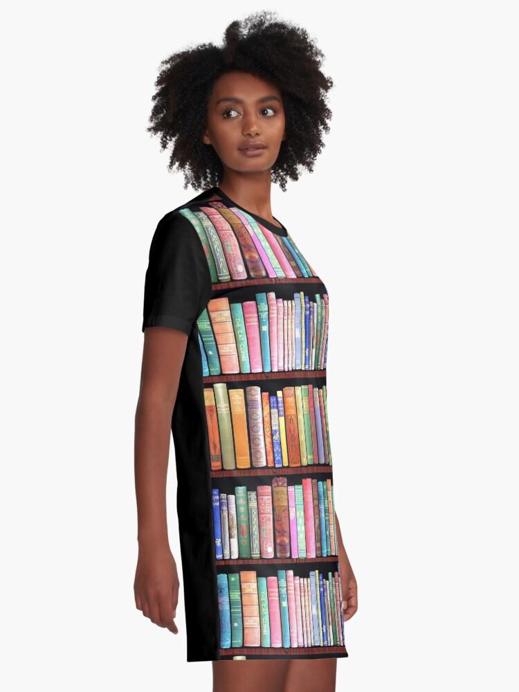 Alternate view of Bookworm Antique books Graphic T-Shirt Dress