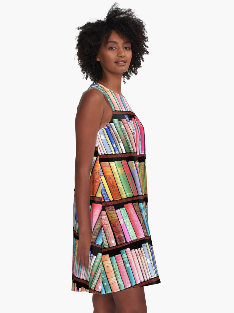 Alternate view of Bookworm Antique book library, vintage book shelf A-Line Dress