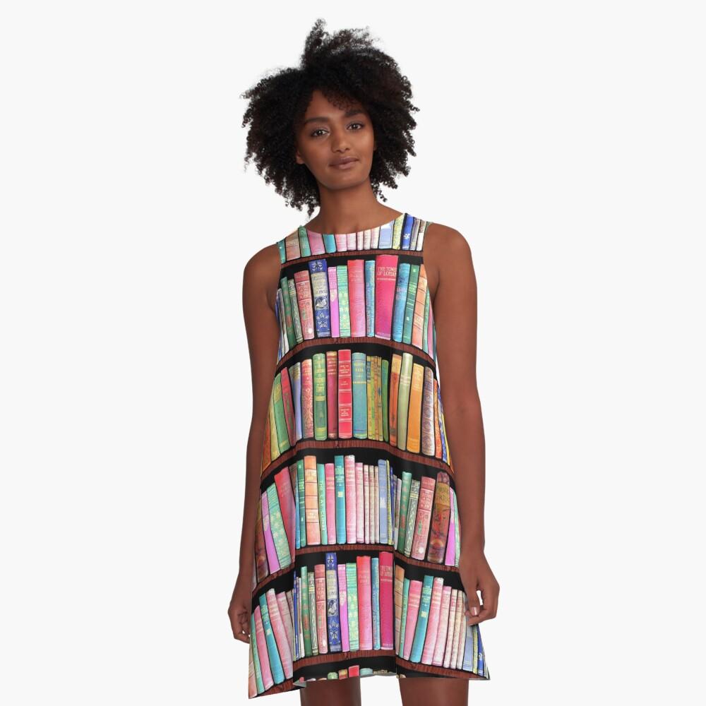Bookworm Antique book library, vintage book shelf A-Line Dress