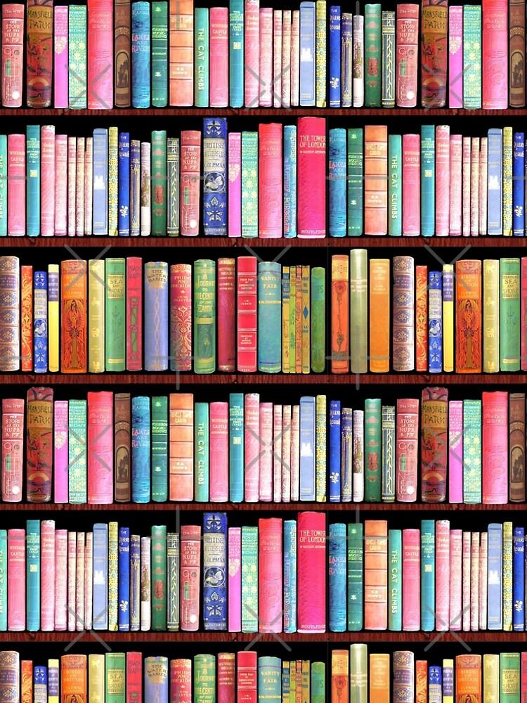 Bookworm Antique book library, vintage book shelf by MagentaRose