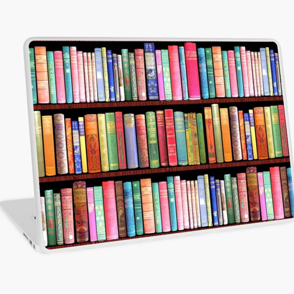 Biblioteca de libros antiguos Bookworm, estante de libros vintage Vinilo para portátil