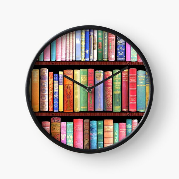 Biblioteca de libros antiguos Bookworm, estante de libros vintage Reloj