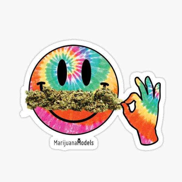 Smiley Weedstache Glossy Sticker