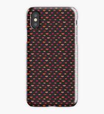 Red, Yellow, Orange & Pink Lips Print on Black iPhone Case/Skin
