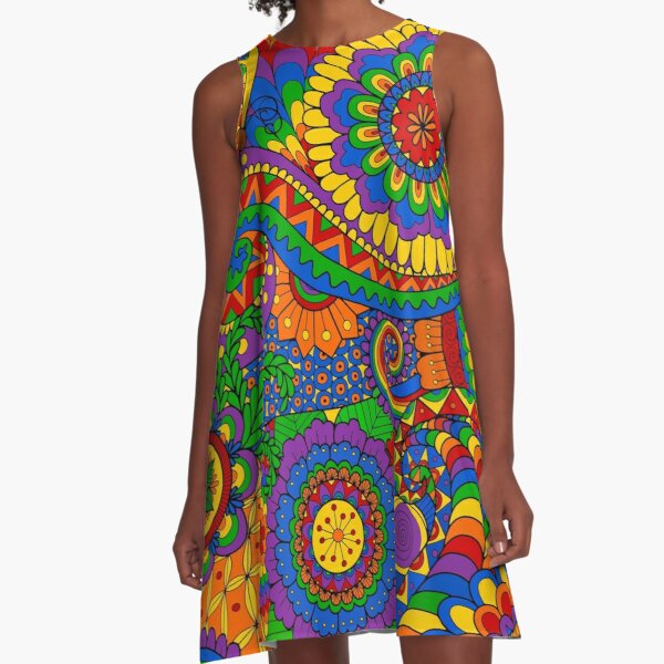 Happy Hippy Psychedelic Rainbow Design A-Line Dress