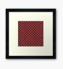 SCALES3 BLACK MARBLE & RED DENIM Framed Print