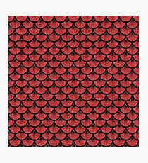 SCALES3 BLACK MARBLE & RED DENIM Photographic Print