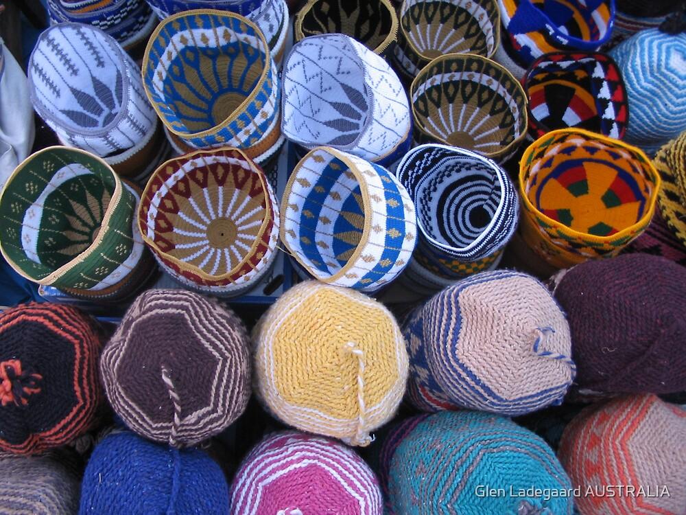Hats in the Marrakech Souk by Glen Ladegaard AUSTRALIA