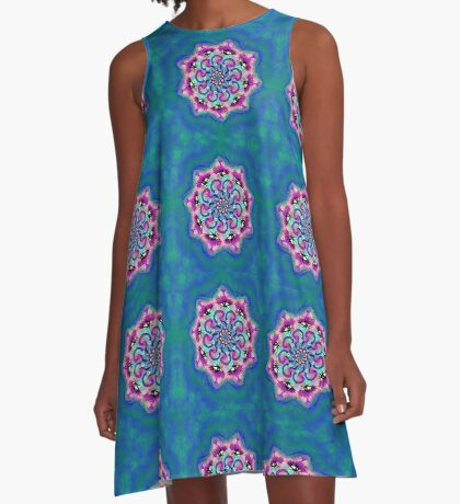 Spider Eye Mandala - Blue BG A-Line Dress